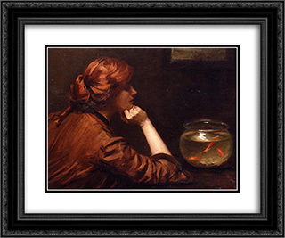 An Idle Moment 24x20 Black or Gold Ornate Framed and Double Matted Art Print by John White Alexander