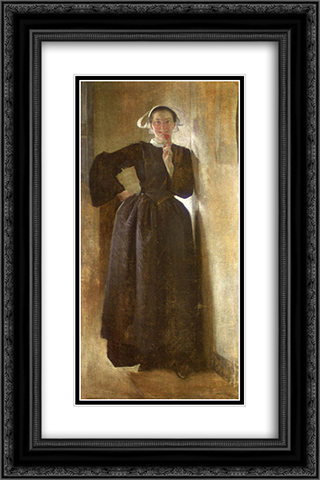 Josephine, the Breton Maid 16x24 Black or Gold Ornate Framed and Double Matted Art Print by John White Alexander
