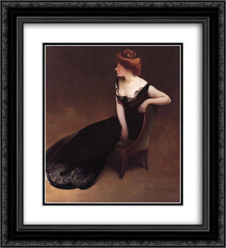 Portrait of Mrs. V (Mrs. Herman Duryea) 20x22 Black or Gold Ornate Framed and Double Matted Art Print by John White Alexander