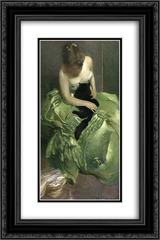 The Green Dress 16x24 Black or Gold Ornate Framed and Double Matted Art Print by John White Alexander