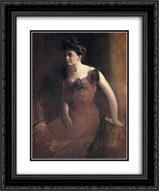 Woman in a Red Dress 20x24 Black or Gold Ornate Framed and Double Matted Art Print by John White Alexander