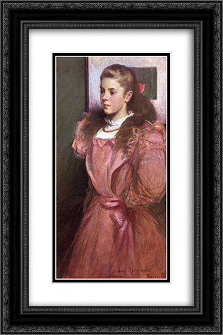 Young Girl in Rose 16x24 Black or Gold Ornate Framed and Double Matted Art Print by John White Alexander