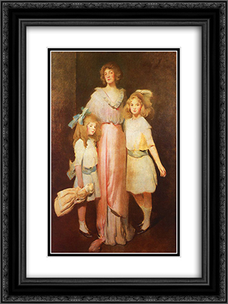 Mrs. Daniels with Two Children 18x24 Black or Gold Ornate Framed and Double Matted Art Print by John White Alexander