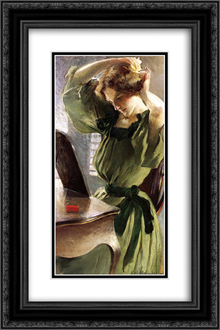 Young Woman Arranging Her Hair 16x24 Black or Gold Ornate Framed and Double Matted Art Print by John White Alexander