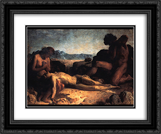 The First Mourning 24x20 Black or Gold Ornate Framed and Double Matted Art Print by Leon Bonnat