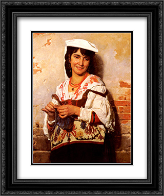 Jeune Fille Italienne 20x24 Black or Gold Ornate Framed and Double Matted Art Print by Leon Bonnat