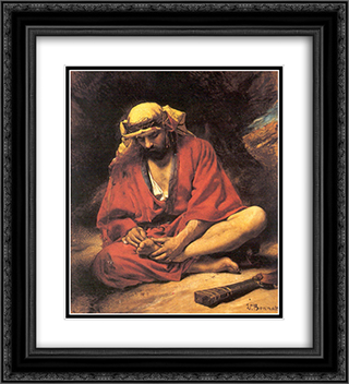 An Arab removing a thorn from his foot 20x22 Black or Gold Ornate Framed and Double Matted Art Print by Leon Bonnat