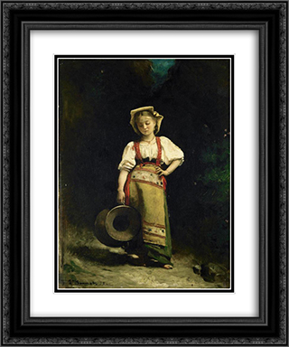 Italian Girl with a Jug 20x24 Black or Gold Ornate Framed and Double Matted Art Print by Leon Bonnat