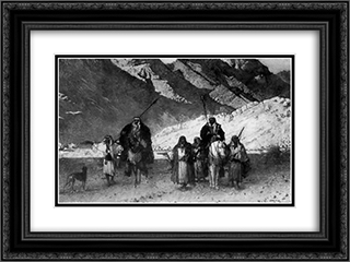 In the Mountains 24x18 Black or Gold Ornate Framed and Double Matted Art Print by Leon Bonnat