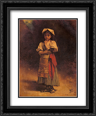 Meditation 20x24 Black or Gold Ornate Framed and Double Matted Art Print by Leon Bonnat