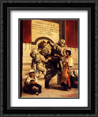 Fountain By The Cathredral Of St. Peter In Rome 20x24 Black or Gold Ornate Framed and Double Matted Art Print by Leon Bonnat