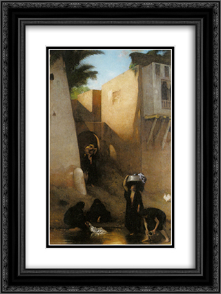 Femmes Fellahs au Lavoir, Caire 18x24 Black or Gold Ornate Framed and Double Matted Art Print by Leon Bonnat