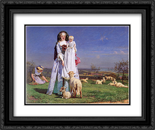 The Pretty Baa'Lambs 24x20 Black or Gold Ornate Framed and Double Matted Art Print by Ford Madox Brown