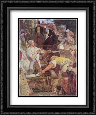 Work [detail] 20x24 Black or Gold Ornate Framed and Double Matted Art Print by Ford Madox Brown