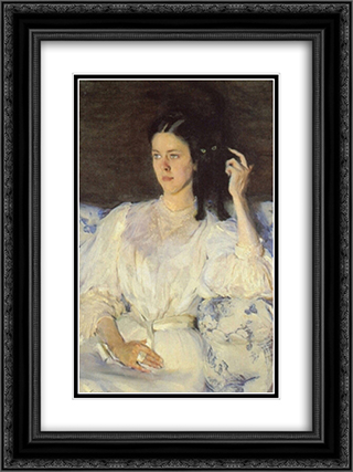 Girl with a Cat 18x24 Black or Gold Ornate Framed and Double Matted Art Print by Cecilia Beaux