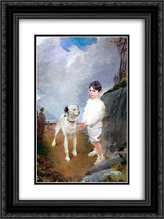 Lane Lovell and His Dog 18x24 Black or Gold Ornate Framed and Double Matted Art Print by Cecilia Beaux