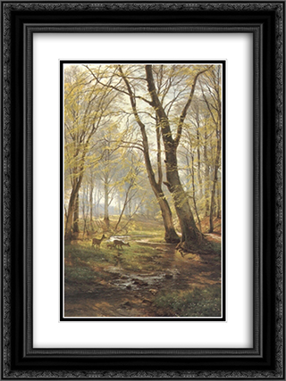 A Woodland Scene With Deer 18x24 Black or Gold Ornate Framed and Double Matted Art Print by Carl Fredrik Aagaard