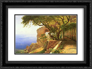 Pergola in Amalfi 24x18 Black or Gold Ornate Framed and Double Matted Art Print by Carl Fredrik Aagaard