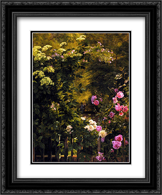The Rose Garden 20x24 Black or Gold Ornate Framed and Double Matted Art Print by Carl Fredrik Aagaard