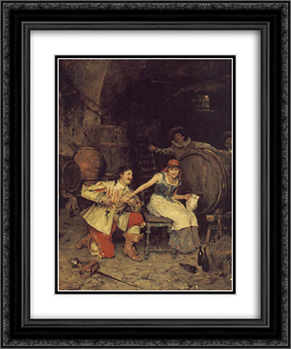 Flirtation in the Wine Cellar 20x24 Black or Gold Ornate Framed and Double Matted Art Print by Federico Andreotti