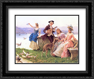 A Day's Outing 24x20 Black or Gold Ornate Framed and Double Matted Art Print by Federico Andreotti