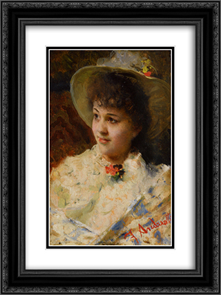 Girl In A Straw Hat 18x24 Black or Gold Ornate Framed and Double Matted Art Print by Federico Andreotti