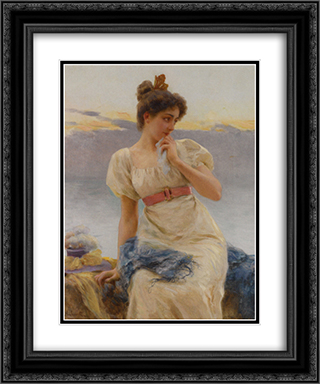 Reverie 20x24 Black or Gold Ornate Framed and Double Matted Art Print by Federico Andreotti