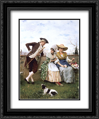 Flirtation 20x24 Black or Gold Ornate Framed and Double Matted Art Print by Federico Andreotti
