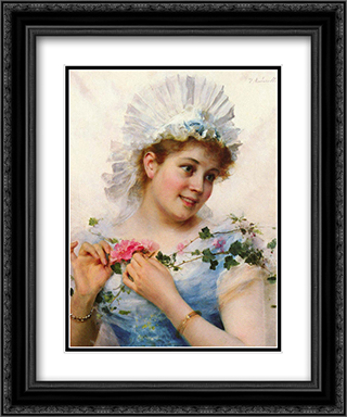 A Young Girl With Roses 20x24 Black or Gold Ornate Framed and Double Matted Art Print by Federico Andreotti