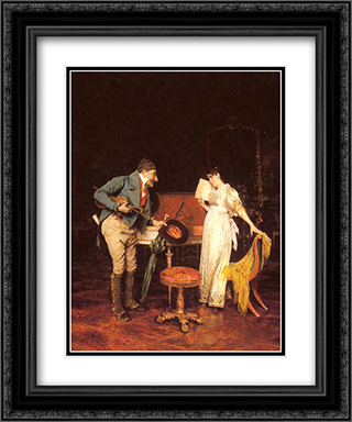 The Music Lesson 20x24 Black or Gold Ornate Framed and Double Matted Art Print by Federico Andreotti