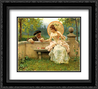 A Tender Moment in the Garden 22x20 Black or Gold Ornate Framed and Double Matted Art Print by Federico Andreotti