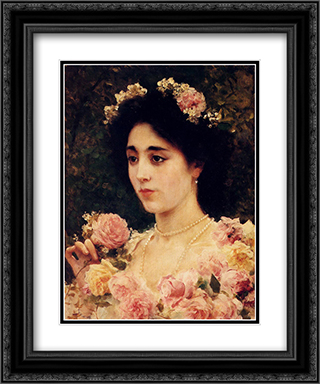 The Pink Rose 20x24 Black or Gold Ornate Framed and Double Matted Art Print by Federico Andreotti