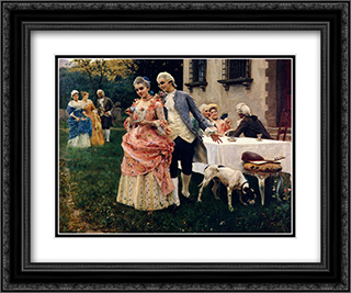 An Afternoon Tea 24x20 Black or Gold Ornate Framed and Double Matted Art Print by Federico Andreotti