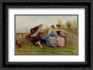 The Poem 24x18 Black or Gold Ornate Framed and Double Matted Art Print by Federico Andreotti