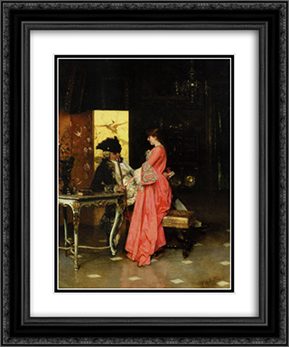 The Secret Letter 20x24 Black or Gold Ornate Framed and Double Matted Art Print by Federico Andreotti