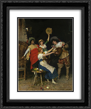 Flowers for Music 20x24 Black or Gold Ornate Framed and Double Matted Art Print by Federico Andreotti