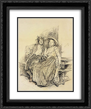 Harvest Home 20x24 Black or Gold Ornate Framed and Double Matted Art Print by Edwin Austin Abbey