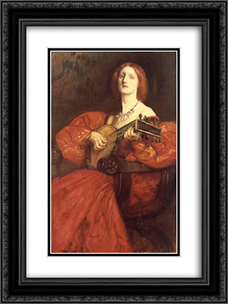 A Lute Player 18x24 Black or Gold Ornate Framed and Double Matted Art Print by Edwin Austin Abbey