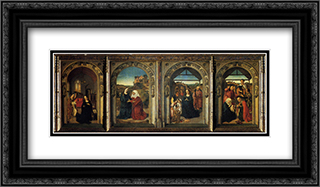 Polyptych Showing The Annunciation, The Visitation, The Adoration Of The Angels And The Adoration Of The Kings 24x14 Black or Gold Ornate Framed and Double Matted Art Print by Dirck Bouts