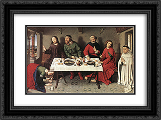 Christ in the House of Simon 24x18 Black or Gold Ornate Framed and Double Matted Art Print by Dirck Bouts