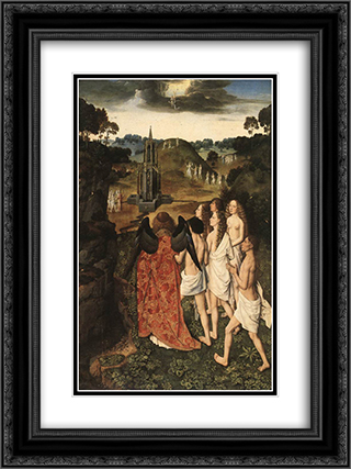 Paradise 18x24 Black or Gold Ornate Framed and Double Matted Art Print by Dirck Bouts