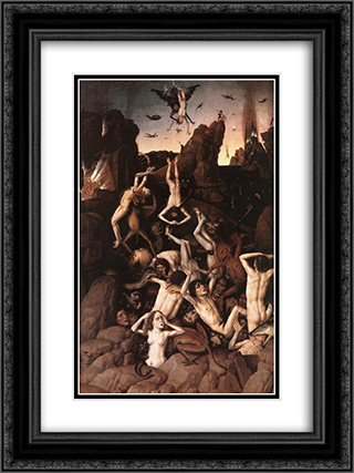 Hell 18x24 Black or Gold Ornate Framed and Double Matted Art Print by Dirck Bouts