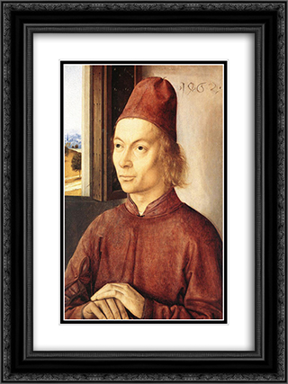 Portrait of a Man 18x24 Black or Gold Ornate Framed and Double Matted Art Print by Dirck Bouts