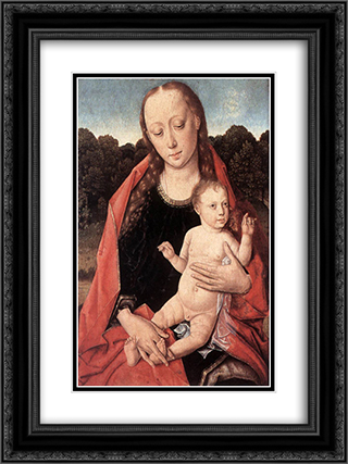 The Virgin and Child 18x24 Black or Gold Ornate Framed and Double Matted Art Print by Dirck Bouts