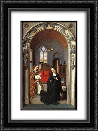 The Annunciation 18x24 Black or Gold Ornate Framed and Double Matted Art Print by Dirck Bouts