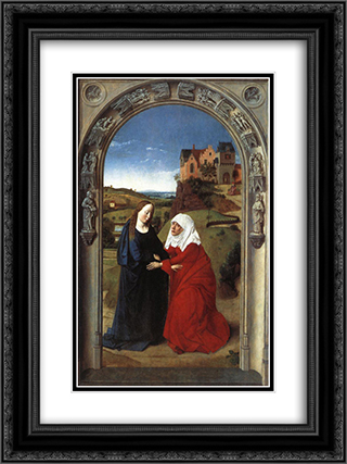 The Visitation 18x24 Black or Gold Ornate Framed and Double Matted Art Print by Dirck Bouts