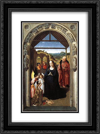 Nativity 18x24 Black or Gold Ornate Framed and Double Matted Art Print by Dirck Bouts