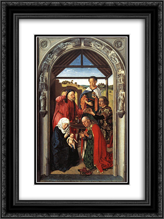 Adoration of the Magi 18x24 Black or Gold Ornate Framed and Double Matted Art Print by Dirck Bouts