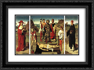 Martyrdom of St Erasmus (triptych) 24x18 Black or Gold Ornate Framed and Double Matted Art Print by Dirck Bouts