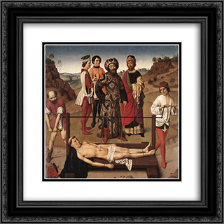 Martyrdom of St Erasmus (central panel) 20x20 Black or Gold Ornate Framed and Double Matted Art Print by Dirck Bouts